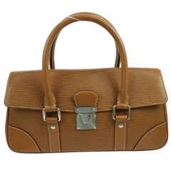 Louis Vuitton Cognac Brown Leather Silver Evening Top Handle Satchel Boston Bag