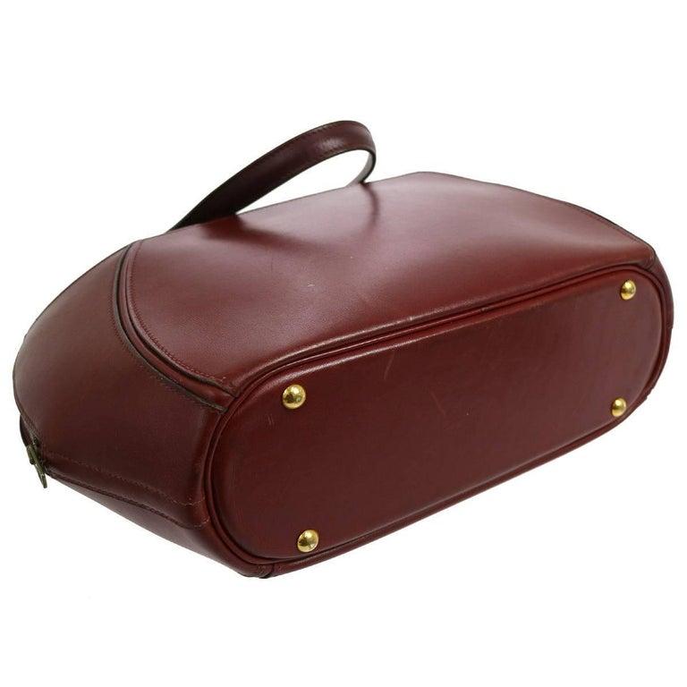 Black Hermes Vintage Bordeaux Red Leather Evening Bowling Top Handle Satchel Tote Bag For Sale