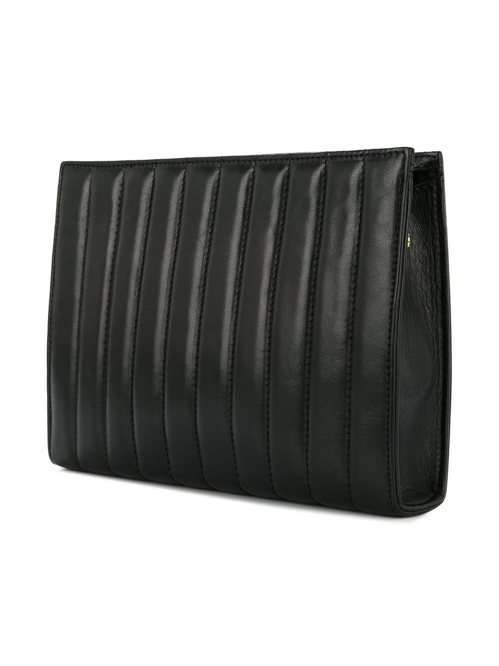 Fendi Black Leather Chocolate Bar Envelope Evening Clutch Bag With Dust Bag Uw71GEgT
