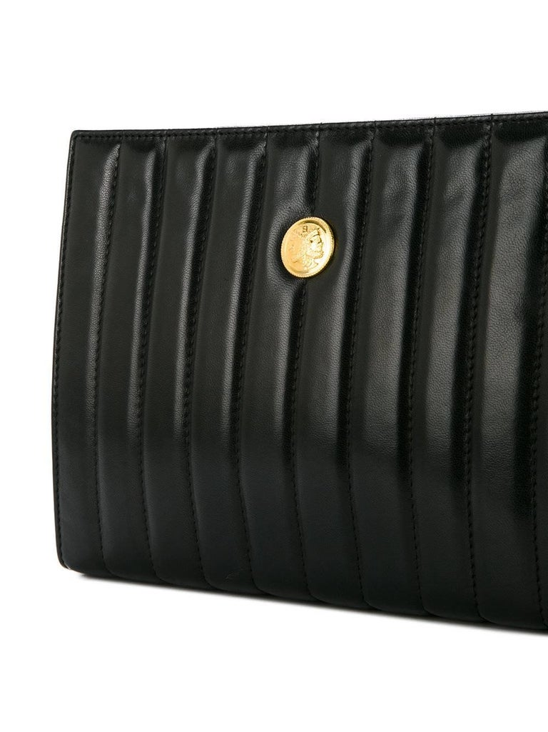 Fendi Black Leather Chocolate Bar Envelope Evening Clutch ...