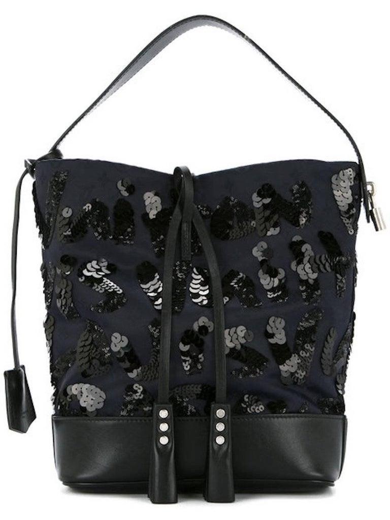 Louis Vuitton Black Navy Blue Sequin Evening Top Handle Satchel Shoulder Bag In Excellent Condition For Sale In Chicago, IL