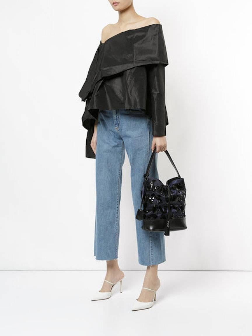 Louis Vuitton Black Navy Blue Sequin Evening Top Handle Satchel Shoulder Bag EoVBjKB