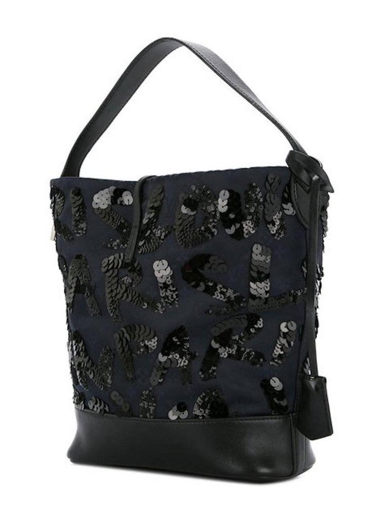 Louis Vuitton Black Navy Blue Sequin Evening Top Handle Satchel Shoulder Bag For Sale 2