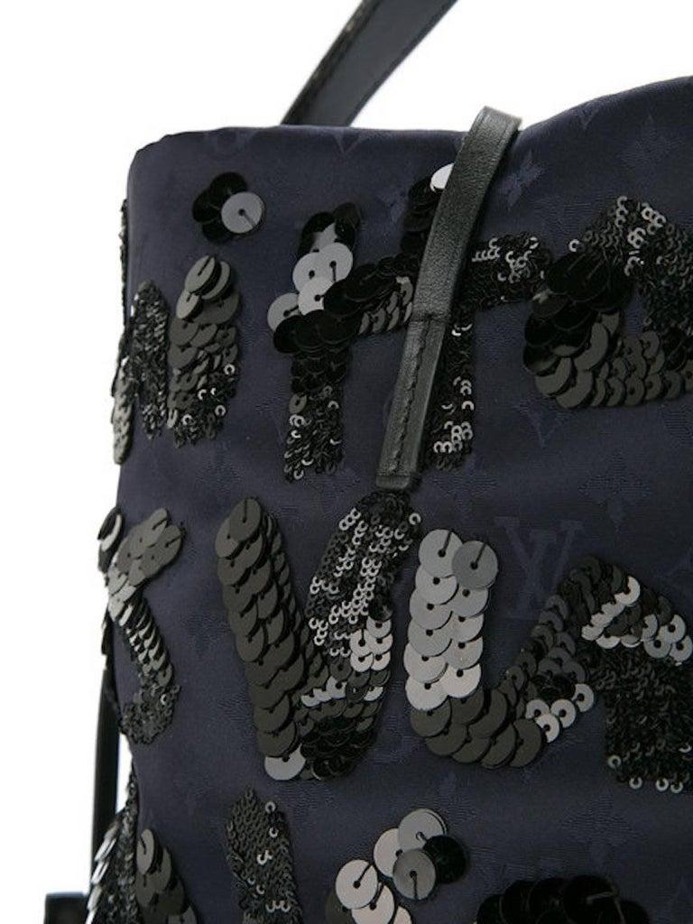 Women's Louis Vuitton Black Navy Blue Sequin Evening Top Handle Satchel Shoulder Bag For Sale