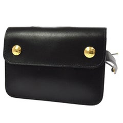 Hermes Black Leather Gold Sellier Fanny Pack Waist Belt Bag