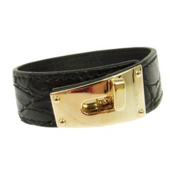 Gucci Black Crocodile Exotic Gold Buckle Men's Women's Cuff Bracelet in Box