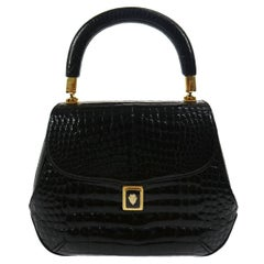 Gucci Black Crocodile Kelly Top Handle Satchel Flap Bag W/Box