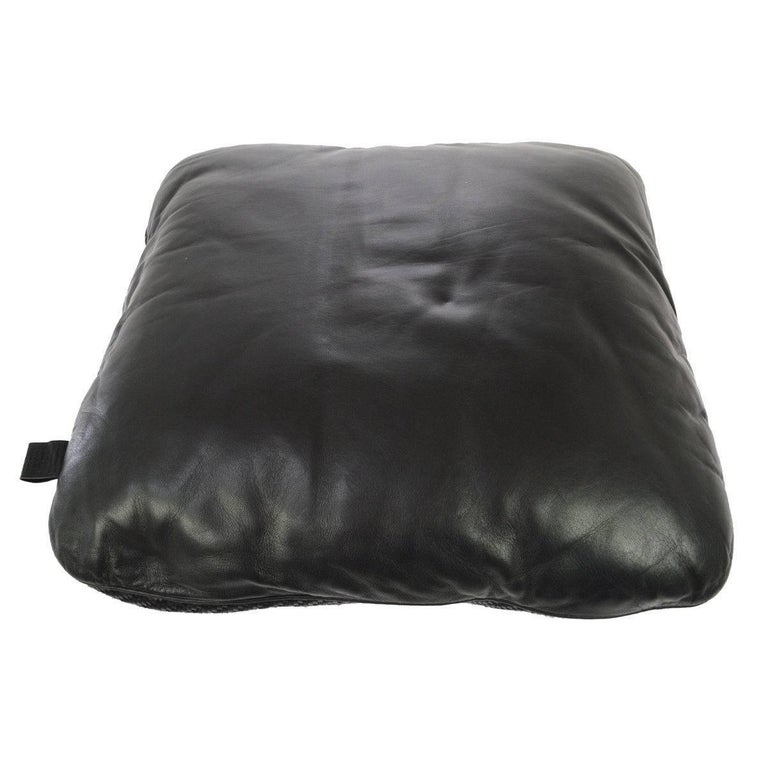 Decorative Pillows For Black Leather Couch : Hermes Black Leather Woven Decorative Home Desk Chair Couch Throw Pillow For Sale at 1stdibs