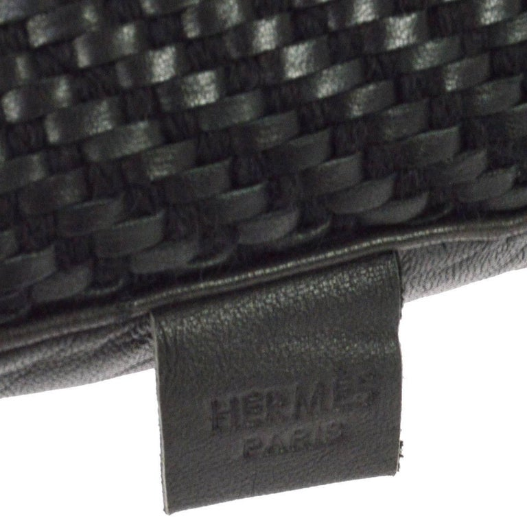 Black Leather Sofa Throw Pillows: Hermes Black Leather Woven Decorative Home Desk Chair