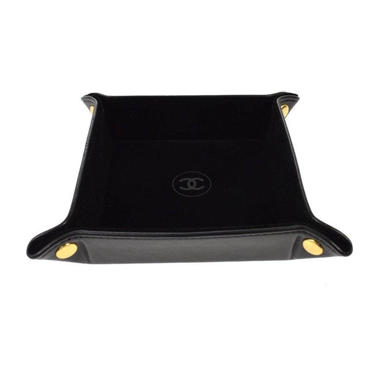 Chanel Black Leather Table Desk Vanity Jewelry Trinket Tray Case in Box