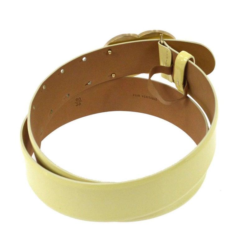 Chanel Cream Nude Gold CC Patent Leather Evening Waist Belt 3