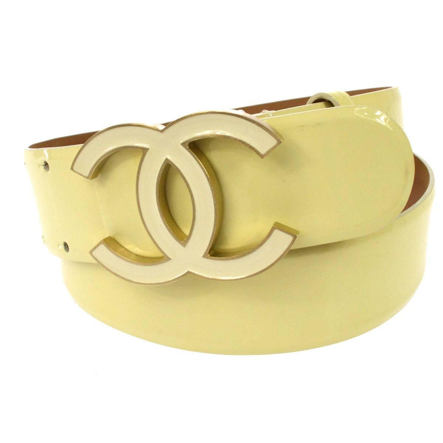 4923cb4e017d1 Chanel Cream Nude Gold CC Patent Leather Evening Waist Belt at 1stdibs