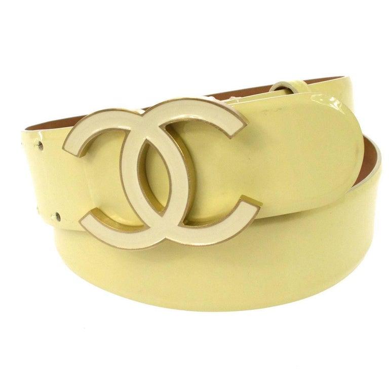 Chanel Cream Nude Gold CC Patent Leather Evening Waist Belt 1