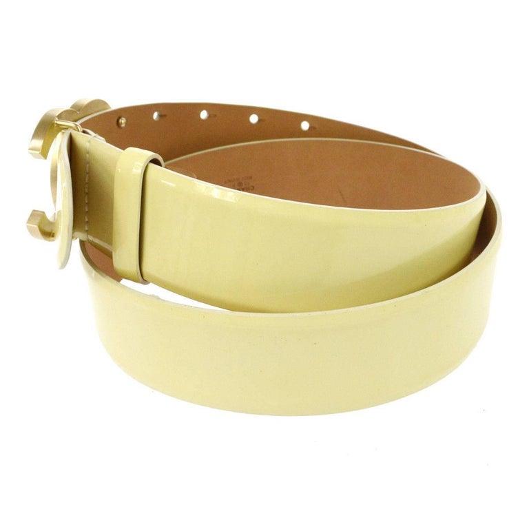 Chanel Cream Nude Gold CC Patent Leather Evening Waist Belt 4