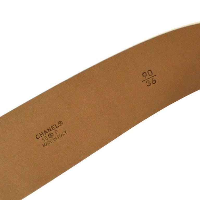 Chanel Cream Nude Gold CC Patent Leather Evening Waist Belt 6