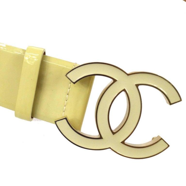 Chanel Cream Nude Gold CC Patent Leather Evening Waist Belt 2