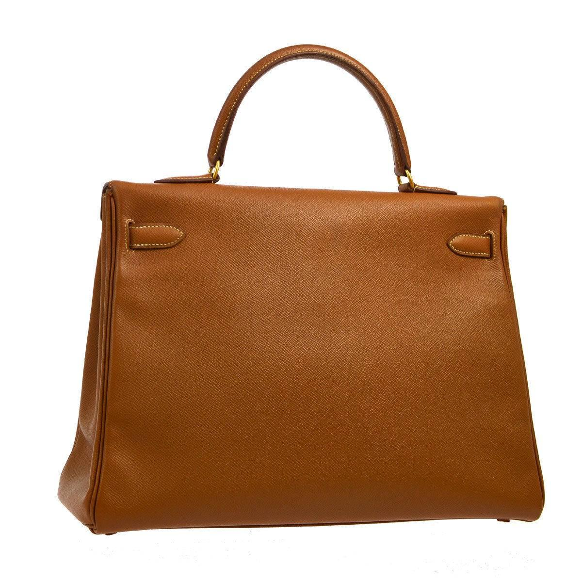 e0adfbbfed3 ... france womens hermes kelly 35 cognac courchevel retourne satchel  shoulder bag for sale adaf1 c3579