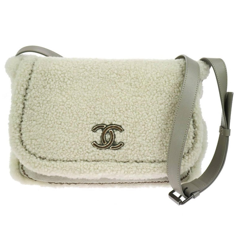 Chanel Winter White Gray Shearling Shoulder Flap Bag W/Box