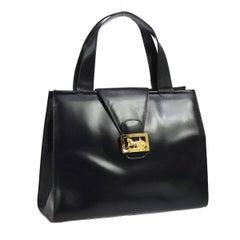Celine Black Leather Gold Emblem Evening Kelly Style Top Handle Satchel Tote Bag