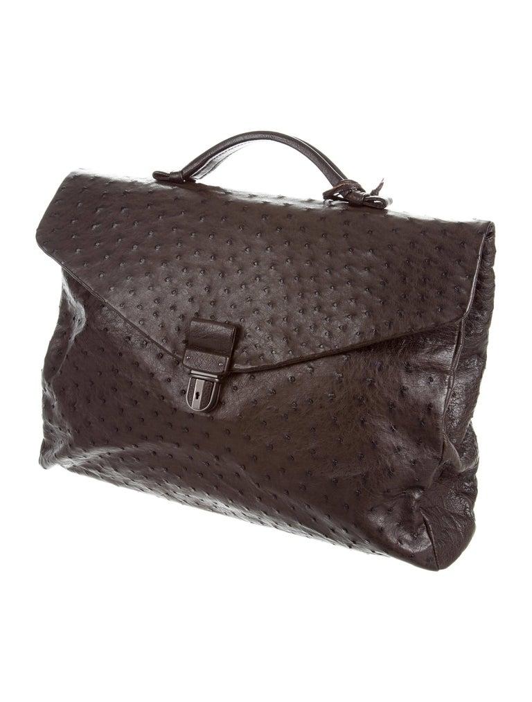 Black Bottega Veneta Brown Intrecciato Ostrich Top Handle Satchel Carryall Travel  Bag For Sale f736a9fa64