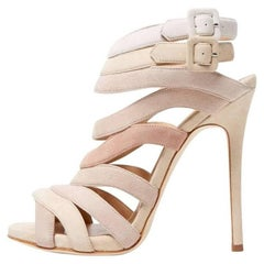 Giuseppe Zanotti New Sold Out Multi Nude Suede Cage Evening Sandals Heels in Box
