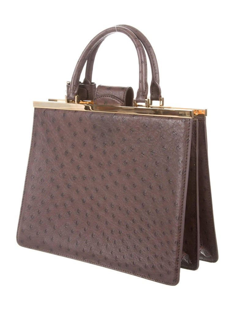 """Louis Vuitton NEW Limited Edition Taupe Brown Gold Exotic Kelly Style Evening Top Handle Satchel Bag   Original purchase price $32,500 Ostrich Brass gold tone hardware Leather lining Magnetic closure  Date code present Handle drop 5"""" Measures 11.5"""""""