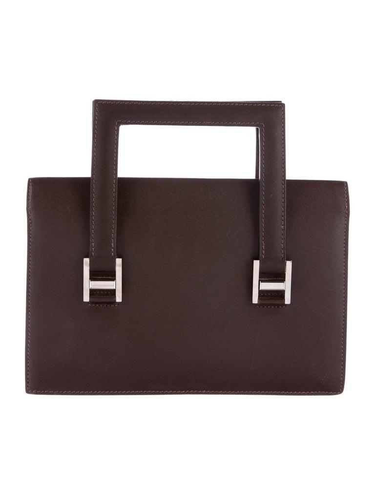Black Hermes Brown Leather H Buckles Evening Top Handle Satchel Bag For Sale