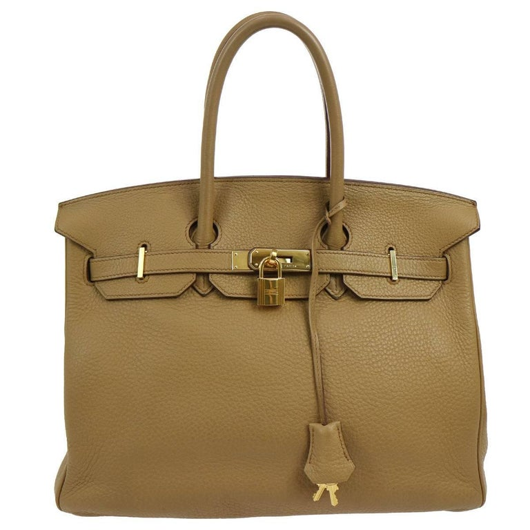 Hermes Birkin 35 Taupe Gold CarryAll Satchel Tote Shoulder Bag