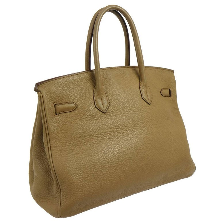 9aadea918034 Hermes Birkin 35 Taupe Gold CarryAll Top Handle Satchel Tote Shoulder Bag  Clemence leather Gold tone