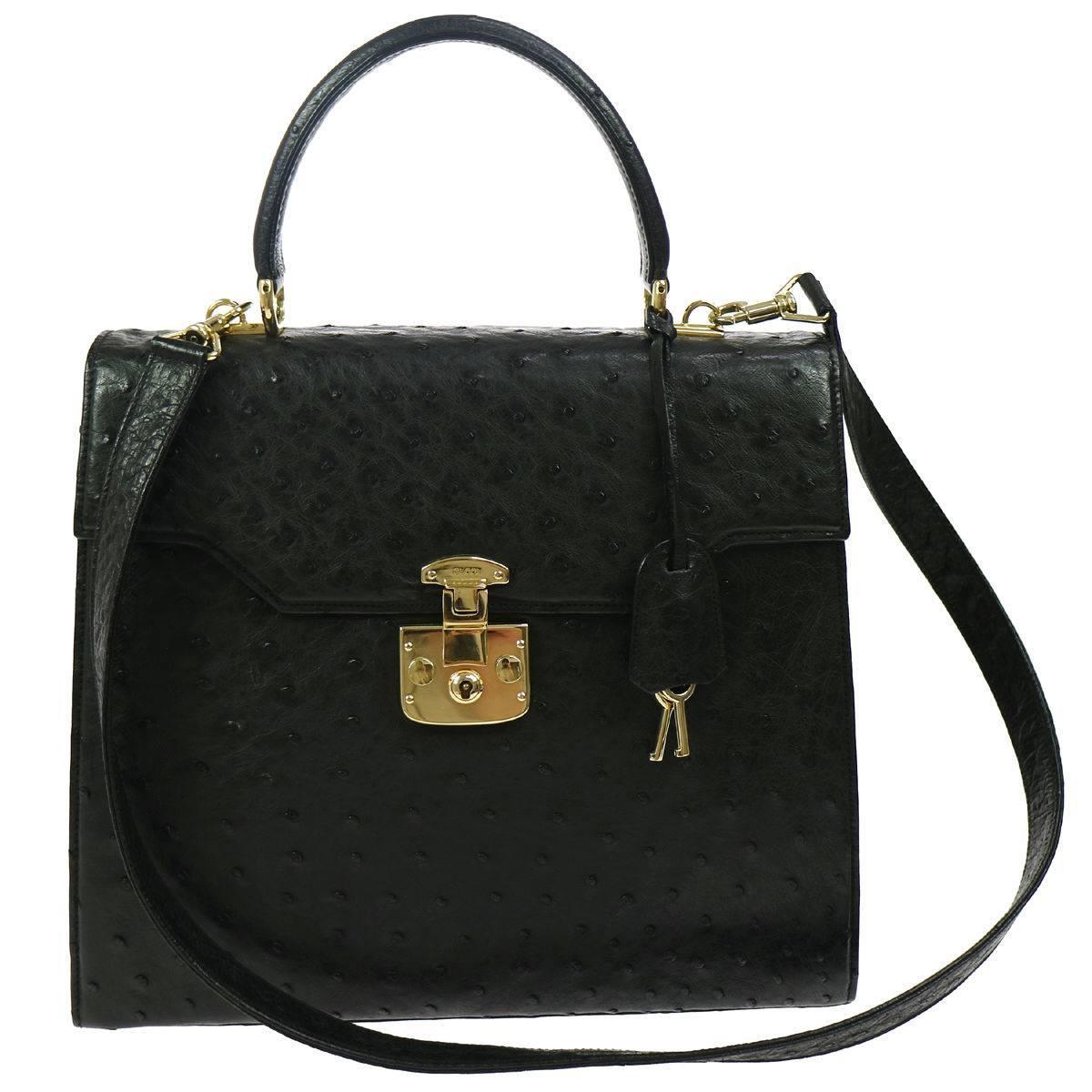 Gucci Black Ostrich Evening Kelly Style Top Handle Satchel Shoulder Bag K7qI84o