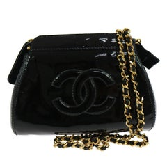 Chanel Black Patent Leather Party Crossbody Shoulder Bag W/Box