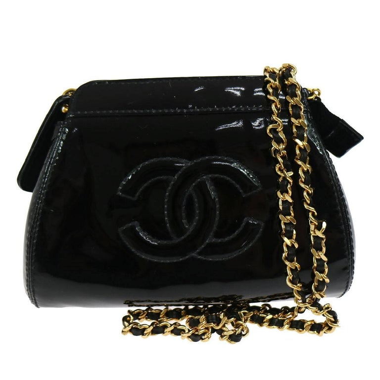 Chanel Black Patent Leather Party Crossbody Shoulder Bag W/Box For Sale