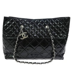 Chanel Black Patent Leather Silver Large Carryall Travel Shopper Bag