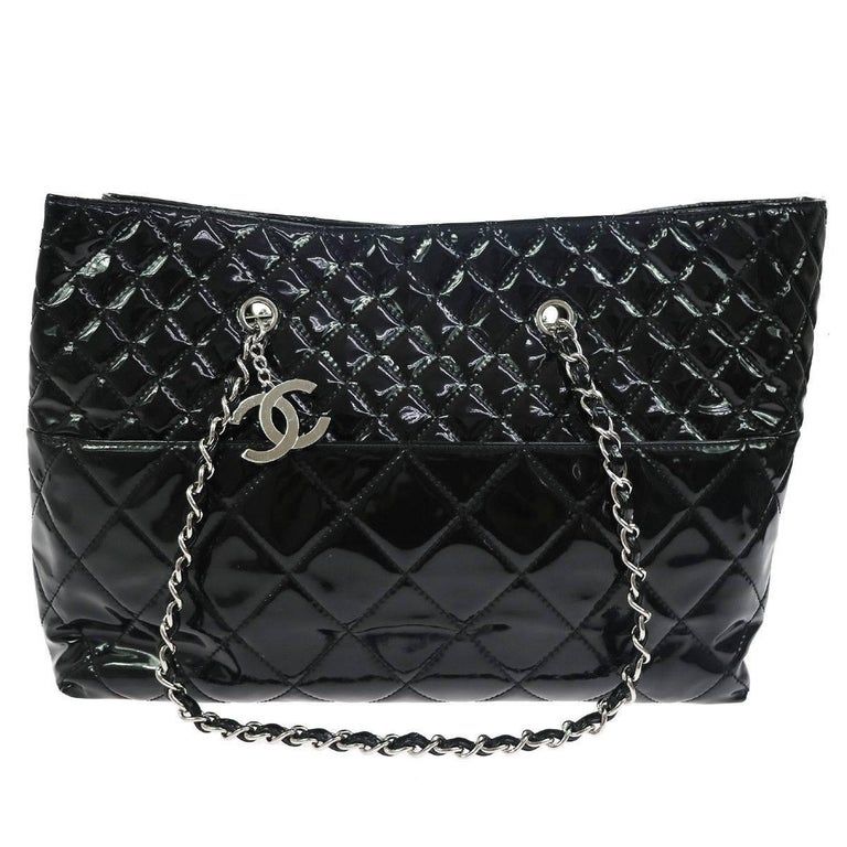 Chanel Black Patent Silver Large Carryall Travel Shopper Bag For Sale
