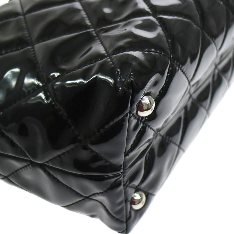 Women's Chanel Black Patent Silver Large Carryall Travel Shopper Bag For Sale