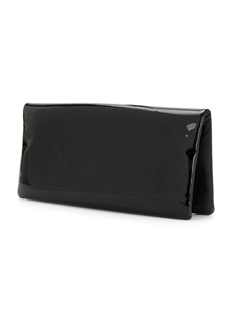 Chanel Black Patent Crystal Stone Evening Flap Clutch Bag W/Box In Excellent Condition For Sale In Chicago, IL
