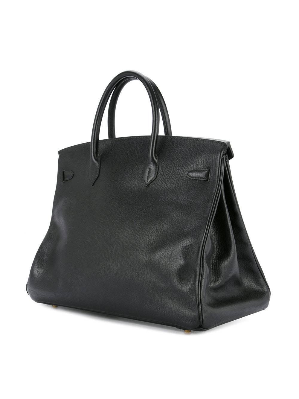 dbb29bf97282 ... ebay womens hermes birkin 35 black leather gold carryall satchel travel  travel tote bag for sale