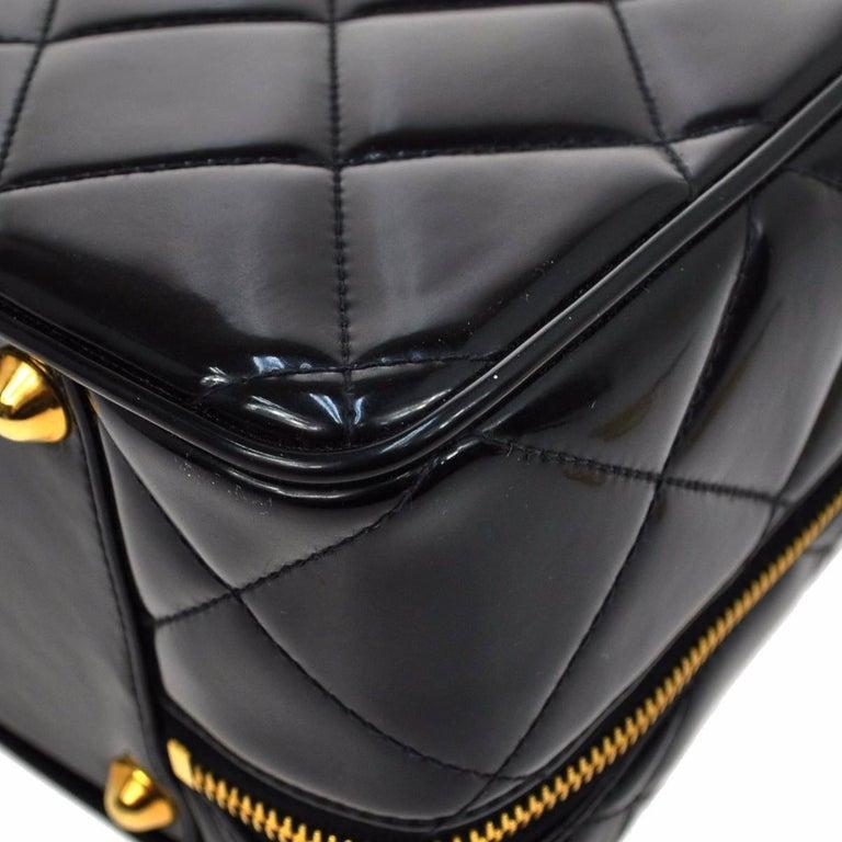 Chanel Black Patent Top Handle Lunch Box Carryall Shoulder Bag For Sale 2