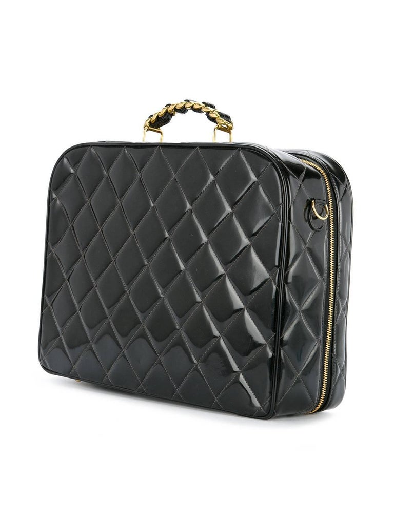 0e46a9d739c3 Chanel Black Patent Top Handle Lunch Box Carryall Shoulder Bag For Sale 1