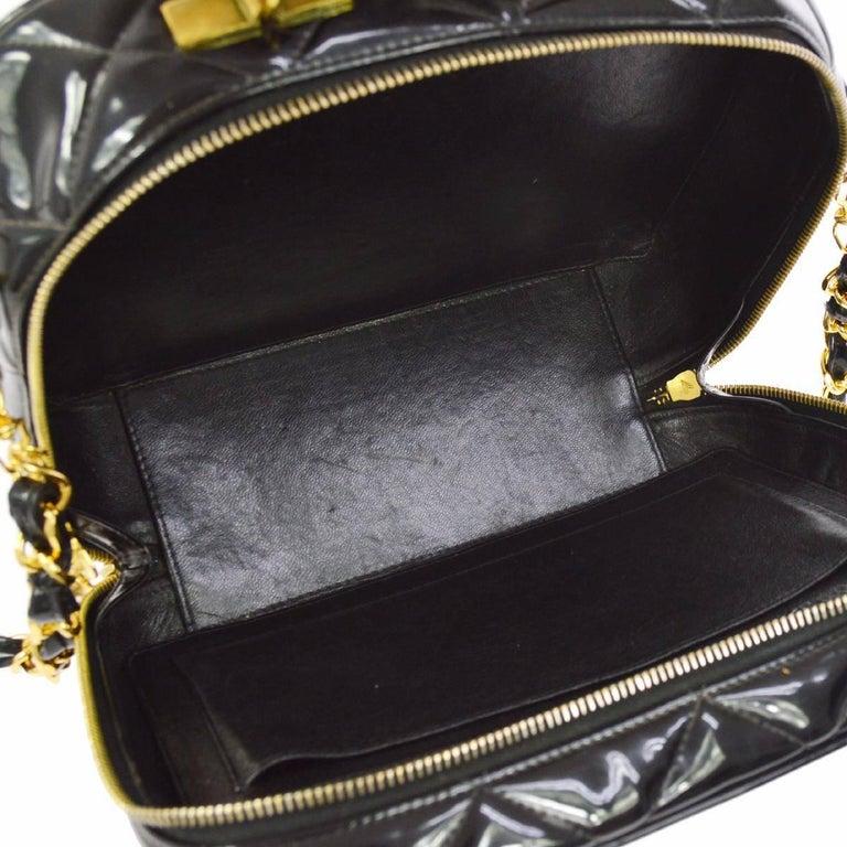 Chanel Black Patent Top Handle Lunch Box Carryall Shoulder Bag For Sale 3