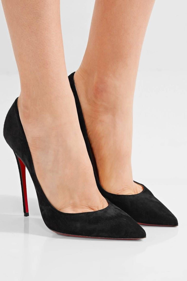 b67caa1625f Christian Louboutin New Black Suede SO Kate Evening High Heels Pumps in Box  Size IT 36.5