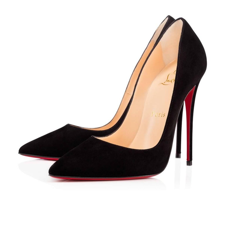 Christian Louboutin New Black Suede SO Kate Heels Pumps in Box 4