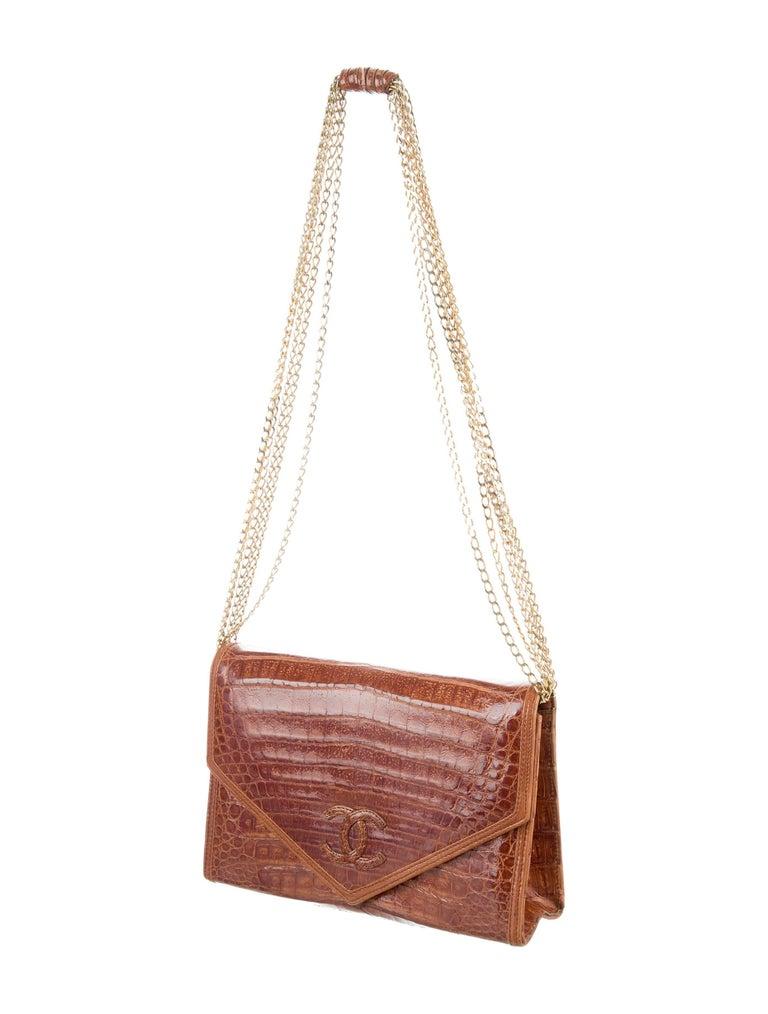 Brown Chanel Cognac Crocodile Evening Clutch Shoulder Flap Bag For Sale
