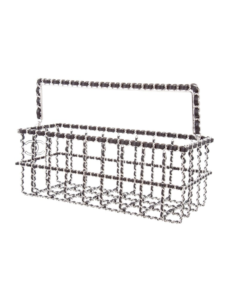 Women's Chanel New Silver Leather Chain Charm Box Top Handle Bag For Sale