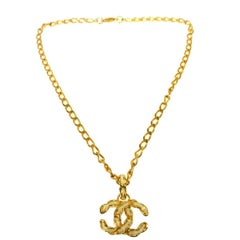 Chanel Textured Gold Chain Link White Enamel Charm Evening Necklace in Box