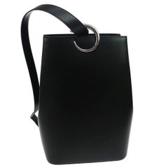Cartier Black Leather Silver Emblem Evening Shoulder Bag