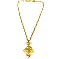 Chanel Gold Link Triple Charm Cross Evening Drape Necklace