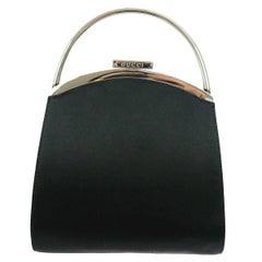 Gucci Black Satin Top Handle Kelly Evening Top Handle Bag
