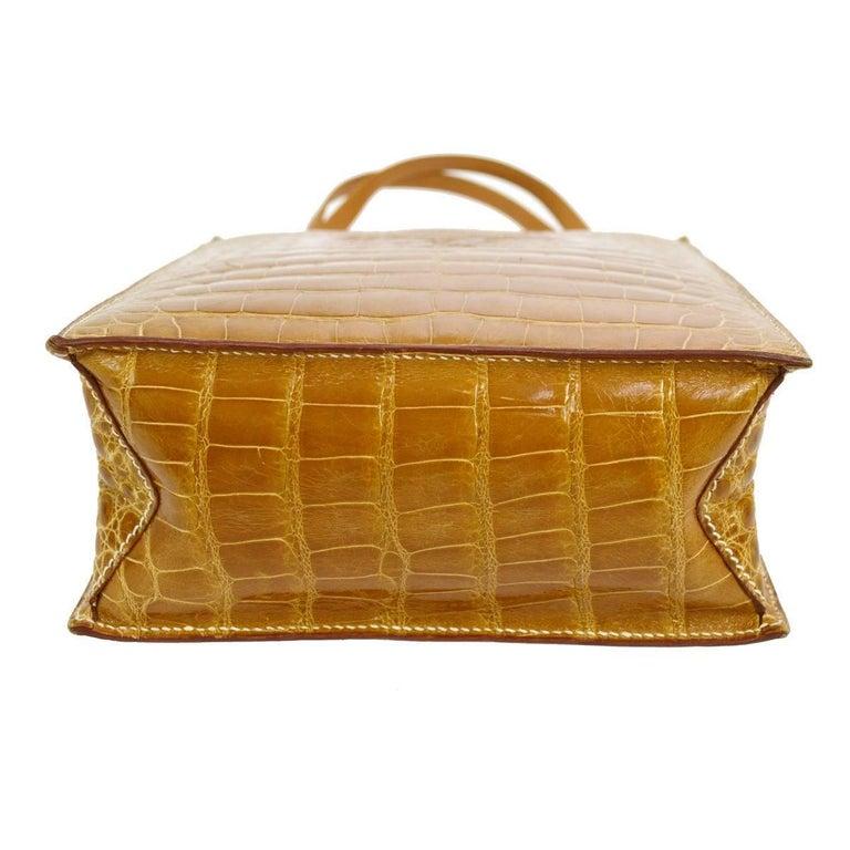 Women's Hermes Cognac Crocodile Evening Shopper Top Handle Satchel Bag   For Sale