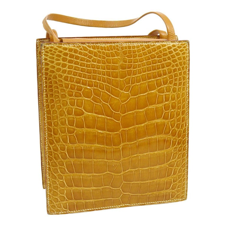 Hermes Cognac Crocodile Evening Shopper Top Handle Satchel Bag   In Excellent Condition For Sale In Chicago, IL